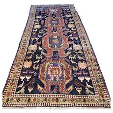 Colorful Kazak design Oriental rug - 10.1 x 4.5 √ Free shipping