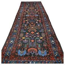 Free shipping - 9.8 x 3.3 Dark Tribal Kazak design Oriental runner rug