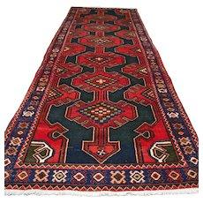 Bohemian Kazak Oriental runner rug - 10.2 x 3.7 √ Free shipping