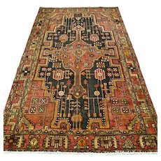 Free shipping - 7.3 x 4.4 - Vintage antique tribal Oriental rug - early 1900s