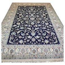 Free shipping - Luxury large blue Oriental rug with silk - 9.5 x 6.7 √ CLEAN AS NEW