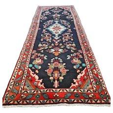 Dark bohemian Oriental runner rug - 9.2 x 3.5 √ Free shipping