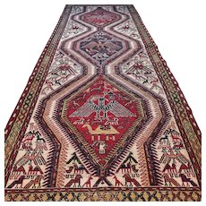 9.4 x 3.5 Antique Eagle Sumak Kazak runner rug √ Free shipping