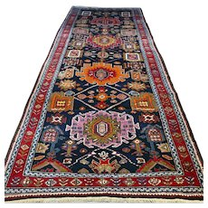 Free shipping - 11.1 x 4.6  Colorful antique Kazak Oriental rug - early 1900s
