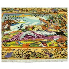 4.9 x 3.2 Collectors Pictoral Oriental rug √ Free shipping