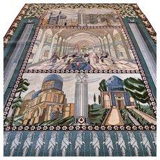 9.7 x 6.7 Superb unique pictoral Tabriz design collectors rug with silk √ Free shipping