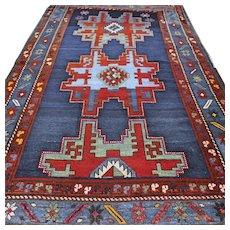 Free shipping - 8 x 4.6 Antique 1800s Caucasian Lesghi 'star' Kazak rug - collectors rug