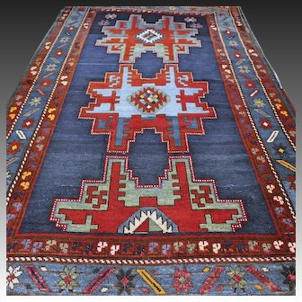 8 x 4.6 Antique 1870s Caucasian Lesghi 'star' Kazak rug √ Free shipping