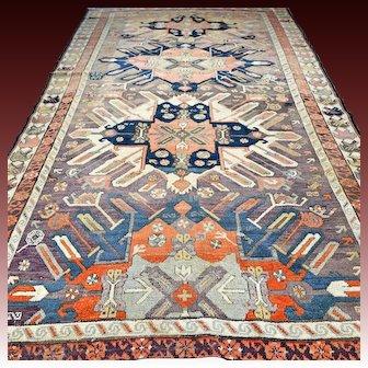 9.7 x 5.2 Antique 1800s Caucasian Chelaberd 'Eagle' Kazak rug √ Free shipping