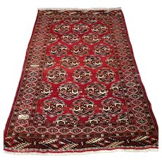 Free shipping - 11 x 3 Antique early 1900s double Signed Turkmen Yomut rug