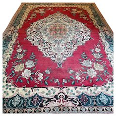 Free shipping - 10.7 x 7.4 Vintage antique bohemian Oriental rose rug - early 1900s