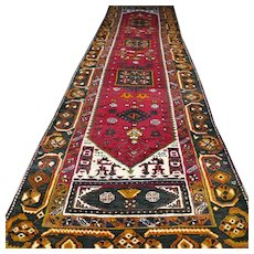 Free shipping - 13.1 x 3.3 Large tribal Kurdish Oriental runner rug