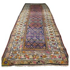 Free shipping - 10.9 x 3.7 Antique 1800s Caucasian Kazak runner rug - collectors rug