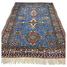 Free shipping - 7.3 x 5.2 Antique early 1900s Caucasian Karabakh Kazak Oriental Persian rug