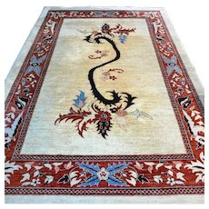 Free shipping - 9.2 x 6.1 Unique Dragon Ziegler Oriental Persian rug