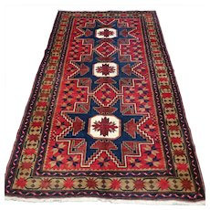 Free shipping - 6.6 x 3.8 Caucasian Lesghi 'star' Kazak Oriental Persian rug - collectors rug