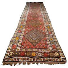 Free shipping - 13.5 x 3.6 Antique vintage 1800s Caucasian Kazak Oriental runner rug - collectors item