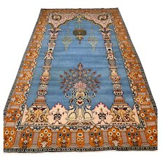 Free shipping - 7.1 x 4.3 Luxury blue bohemian Oriental rug with silk
