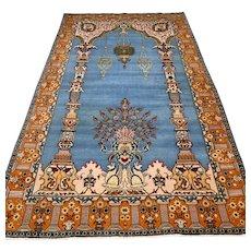 7.1 x 4.3 Luxury blue bohemian Oriental rug with silk √ Free shipping
