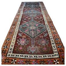 9.7 x 3.4 Antique vintage 1800s Shirvan Kazak runner rug √ Free shipping