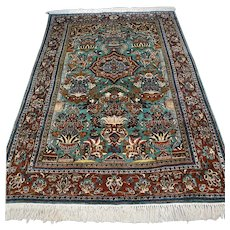 Free shipping - 5.8 x 4.1 Superb silk Hereke rug, China - Collectors rug