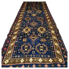 10 x 3.5 Dark antique Caucasian nomads Kazak runner rug √ Free shipping