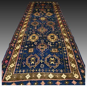 10 x 3.5 Dark antique Caucasian nomads Kazak runner rug √ Free shipping