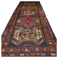 10.5 x 4 Colorful vintage antique Kazak Oriental rug √ Free shipping