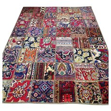 6.6 x 4.9 Colorful bohemian patchwork Oriental rug √ Free shipping