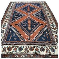Free shipping - 5.6 x 3.8 Vintage antique bohemian Kazak rug - early 1900s