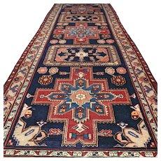 10 x 3.7 Dark Caucasian Oriental runner rug √ Free shipping