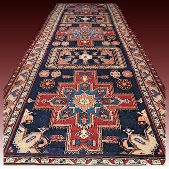 10 x 3.7 Dark Caucasian Oriental Persian runner rug √ Free shipping
