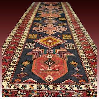 11.2 x 3.9 Luxury Dark Caucasian Kazak Oriental runner rug √ Free shipping