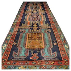 Free shipping - 10.4 x 3.7 Antique bohemian Kazak Oriental rug √ CLEANED