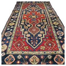 Free shipping - 9.3 x 4.8 Antiaue vintage Anatolian rug - early 1900s