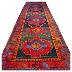 10.5 x 3.1 Colorful vintage antique Kazak Oriental runner √ Free shipping