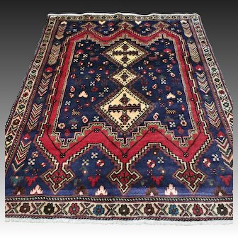 4.6 x 3.7 Antique tribal Kazak rug √ Free shipping