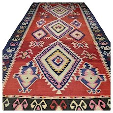 10.5 x 5.6 Large colorful flatweave Kilim √ Free shipping