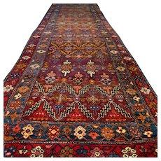 13.2 x 3.8 Antique tribal Kazak runner √ Free shipping