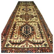 12.9 x 3.8 Large tribal Kazak runner √ Free shipping