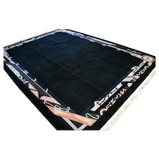 11.2 x 8.4 Large black modern contemporary rug √ Free shipping