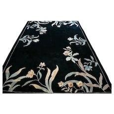 10 x 6.6 Modern black floral rug √ Free shipping