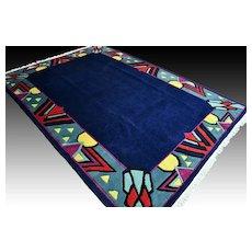9.6 x 6.9 Superb blue retro art rug √ Free shipping