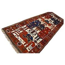Tribal pictoral Anatolian rug - 12.5 x 4.4 √ Free shipping