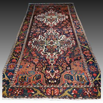 Free shipping - 9.8 x 4.9 Colorful vintage antique Bohemian rug - early 1900s