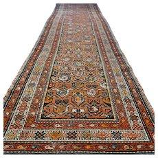 Free shipping - 15 x 2.8 Extra long Antique 1800s vintage Caucasian Kazak rug - collectors item