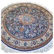 Free shipping - 6.1 - Luxury blue Anatolian Hereke round Oriental rug
