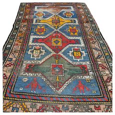 5.9 x 3.5 Antique 1800s Kazak rug √ Free shipping