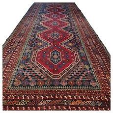 14.6 x 5.6 Antique 1880s Shirwan Kazak rug √ Free shipping