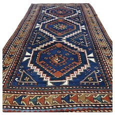 7.6 x 4.3 Antique 1890s Caucasian Kazak rug √ Free shipping